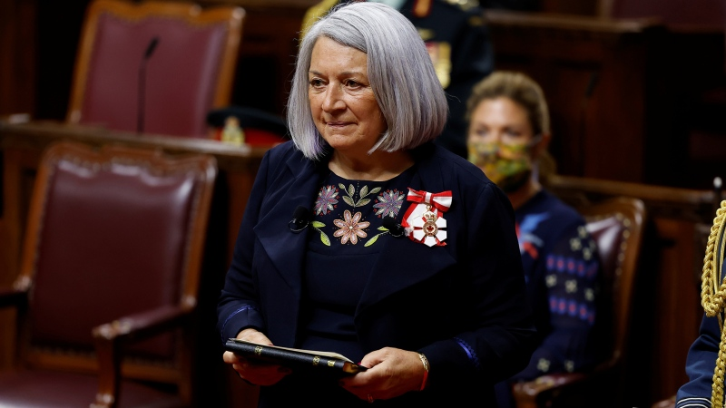 Mary Simon is sworn in as the Governor General of Canada during a ceremony in the Senate chamber in Ottawa on Monday, July 26, 2021. THE CANADIAN PRESS/Blair Gable
