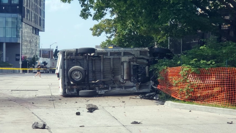 A driver fled the scene after a van crashed on the campus of the University of Ottawa. (Aaron Reid/CTV News Ottawa)