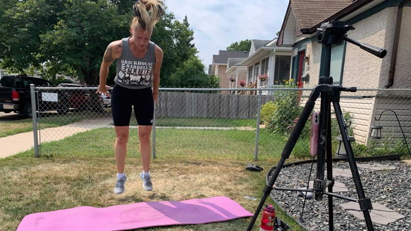 Jennifer Raposo decided to celebrate her birthday by doing 1,600 burpees all for a good cause. July 26, 2021. (Source: Jamie Dowsett/CTV News)