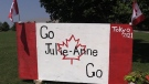 A sign supporting Julie-Anne Staehli at the Tokyo Games is seen in Lucknow, Ont. on Monday, July 26, 2021. (Scott Miller / CTV News)