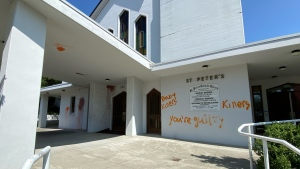 A church in New Westminster was covered in graffiti on July 25, 2021.