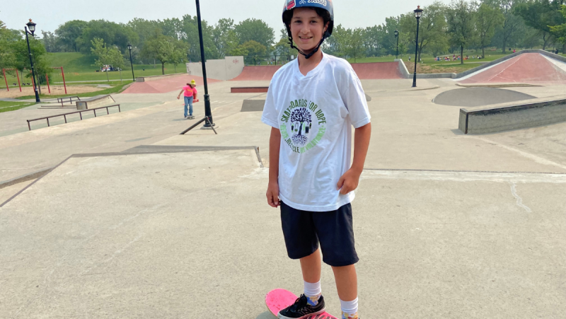 Max Boucher hopes one day to follow in the skateboard-pumping footsteps of the Olympians at this year's Tokyo games. (Christine Long/CTV News)