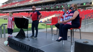 President of Atlético Ottawa Jeff Hunt making the announcement for pay what you want home opener at TD Place. (Dave Charbonneau/CTV News Ottawa)
