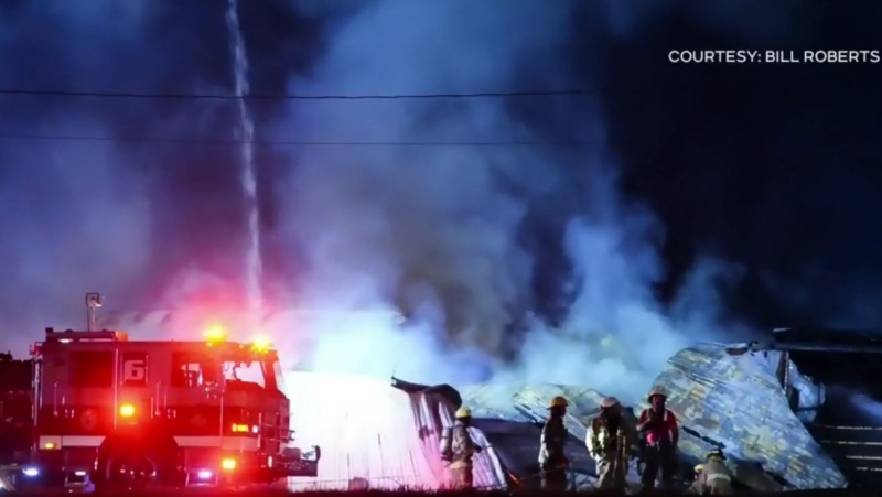 Twenty-eight fire departments wound-up responding to help fight the flames, and successfully protected the other buildings in the yard, including a house, a barn and a recycling depot. (COURTESY BILL ROBERTS)
