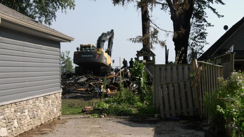 A home was demolished due to fire in Kingsville, Ont. on Monday, July 26, 2021. (Angelo Aversa / CTV Windsor)