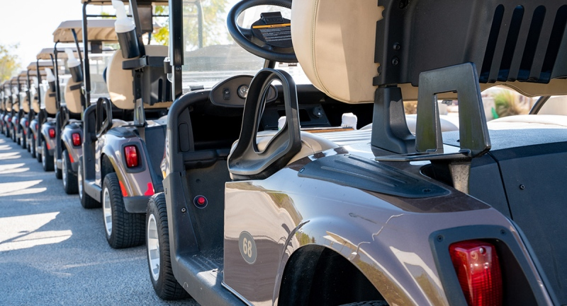 Golf carts are lined up in this file photo. (Getty Images)