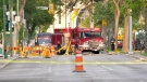 A gas leak along Broadway Monday evening that shut down traffic in the area. July 26, 2021. (Source: Scott Andersson/CTV News)