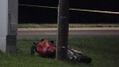 Fatal motorcycle crash on Springbank Drive in London, Ont. on July 26, 2021. (Daryl Newcombe/CTV London)