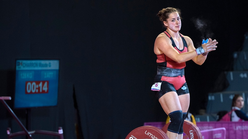 Canada's Maude Charron reacts after missing her last lift in the women's 64-kilogram weightlifting event at the Pan Am Games in Lima, Peru on Monday, July 29, 2019. THE CANADIAN PRESS/Andrew Vaughan