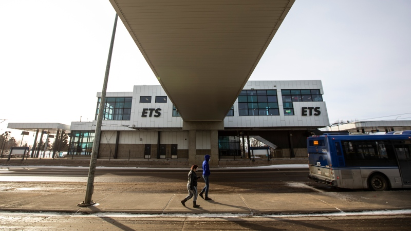 The Century Park LRT station is shown in Edmonton on Friday, February 26, 2021. THE CANADIAN PRESS/Jason Franson