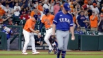 Houston Astros third base coach Omar Lopez, left, and Kyle Tucker, center, celebrate as Tucker rounds the bases on his three-un home run as Texas Rangers starting pitcher Kolby Allard, right, heads back to the mound during the third inning of a baseball game Friday, July 23, 2021, in Houston. (AP Photo/Michael Wyke)