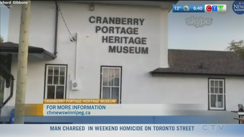 Outside the Cranberry Portage Heritage Museum