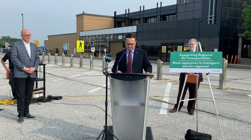MP Irek Kusmierczyk announcing $1.02M in government funding to upgrade Windsor's International Airport (Chris Campbell, CTV Windsor)