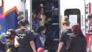 Young fire evacuees 'touch a truck' during visit from Timmins emergency services. July 27/21 (Sergio Arangio/CTV Northern Ontario)
