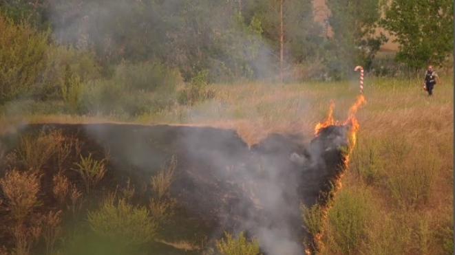 River grass fire Saskatoon