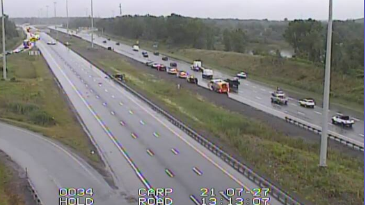 Emergency crews responded to a single vehicle crash on Highway 417 at Carp Road on Tuesday, July 27. (Photo courtesy: MTO)