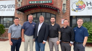 L-R: Chris Dennis, Assistant Coach, Marty Williamson, GM and Head Coach, Howie Campbell, Owner and President, Taylor Carnevale, Assistant Coach, David Belitski, Goalie Coach, Rob Stewart, Assistant GM. (Supplied)