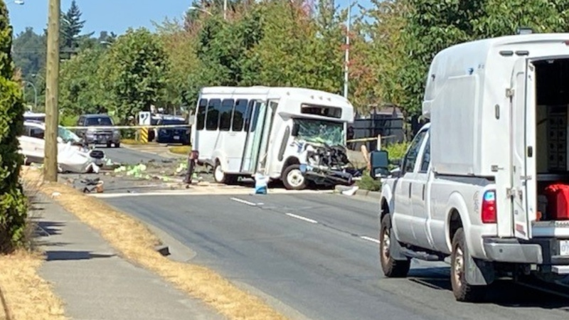 A crash in Abbotsford Tuesday morning sent multiple people to hospital.