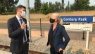 Edmonton Mayor Don Iveson and federal Infrastructure and Communities Minister Catherine McKenna speak at Edmonton's Century Park LRT station following an announcement nearly $400 million in federal dollars had been greenlight for the Capital line's extension.