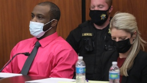 Defendant Nathaniel Rowland sits with his attorney Alicia Goode during closing arguments in his trial on Tuesday, July 27, 2021, in Richland County Circuit Court in Columbia, S.C. Rowland is accused of killing Samantha Josephson after luring her into his car in March 2019 . (Tracy Glantz/The State via AP)