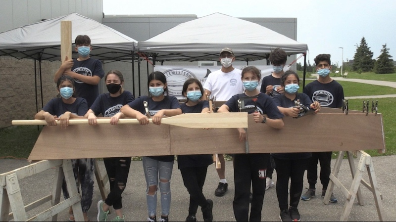 A youth group builds boat in five days with Stem2Stern boat camp at South London Neighbourhood Resource Centre in London, Ont., Tuesday, July 27, 2021. (Jordyn Read/CTV London)
