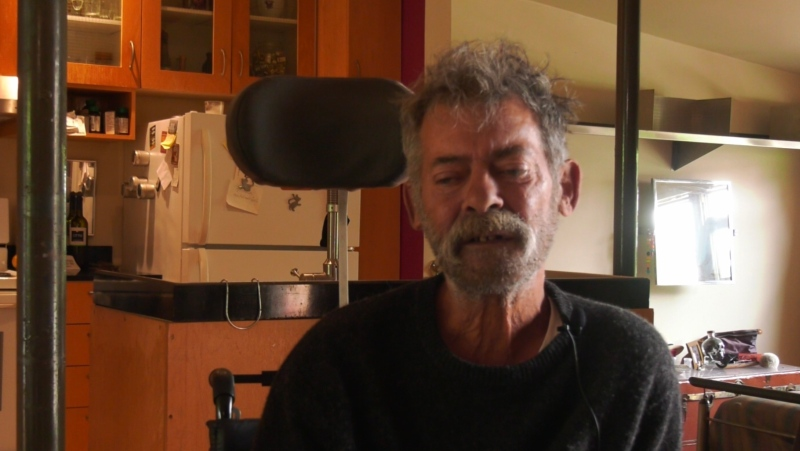 Claude Varin suffers from multiple sclerosis and needs a wheelchair to get to street level, a source of adapted transport the borough disapproves of. (Stephane Giroux/CTV News)