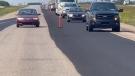 A still from a video Allan Barilla shared shows a car speeding through a construction zone. (Facebook/Allan Barilla)