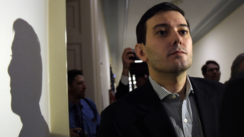 This Thursday, Feb. 4, 2016, file photo shows pharmaceutical chief Martin Shkreli following his appearance on Capitol Hill in Washington before the House Committee on Oversight and Reform Committee.  (AP Photo/Susan Walsh, File)