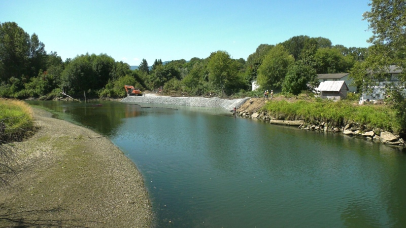 Workers are repairing riverbanks along the Cowichan River that eroded during heavy winter rainfalls: July 27, 2021 (CTV News)