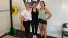 Female Olympic-style weightlifters (from left) Angelina McMullin, coach Amanda Thompson, and Thea Wall at Hubtown Weightlifting Club in Central Onslow, N.S. (CTV ATLANTIC / HEIDI PETRACEK)