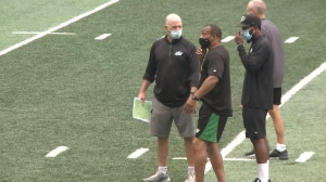 Riders head coach Craig Dickenson said the offensive tackle position is currently a toss up. (Kaylyn Whibbs/CTV News)