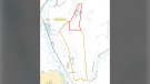 A map from the Regional District of East Kootenay shows an area under evacuation order due to the Bill Nye Mountain wildfire.