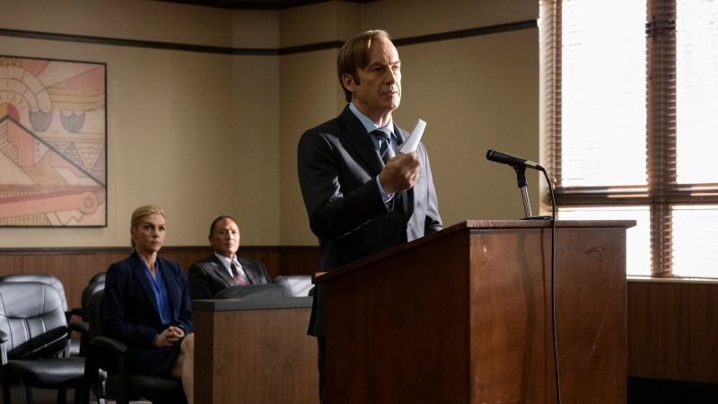 """This image released by AMC shows Bob Odenkirk, foreground, in a scene from """"Better Call Saul."""" (Nicole Wilder/AMC via AP)"""