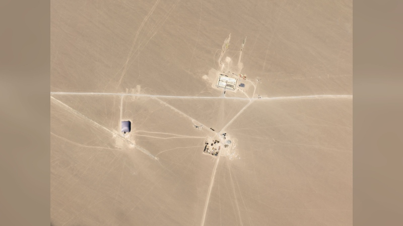 A satellite image from Planet Labs shows what researchers say are missile silos under construction in the Chinese desert. (Planet Labs Inc.)