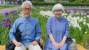 elderly couple matching outfits