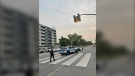 Police are on scene to investigate the incident on Provencher. (Source: Ainsley McPhail/CTV News)