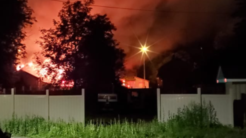 Three people were sent to hospital, one in critical condition after an early morning house fire near Charleston Side Road and Hurontario Street in Caledon, Ont. (Courtesy: Mike Godfrey)