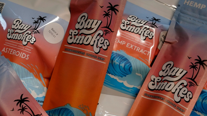 A small selection of products offered by William Goodall, and Katiana Kay, his partner in their CBD online shop Bay Smokes, are shown, Thursday, July 22, 2021, in Sunny Isles Beach, Fla. (AP Photo/Wilfredo Lee)