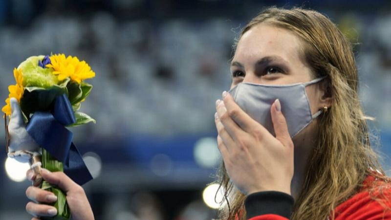Penny Oleksiak showing determination in Tokyo
