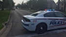 Police on scene of a shooting in London, Ont. on Wednesday, July 28, 2021. (Marek Sutherland / CTV News)