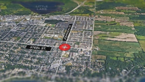 A man is in custody after an attack on two women at a home in the Steel and Johnson Street area of Barrie on Mon., July 26, 2021.