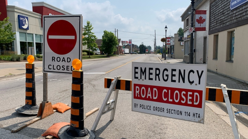 A road in Woolwich Township is closed following a crash between a horse and buggy and a motorcycle (Jessica Smith / CTV News Kitchener)
