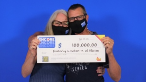Kimberly and Robert McCullough of Alliston, Ont. won $100,000 with Encore in the June 26, 2021, Lotto 6/49 draw. (OLG)
