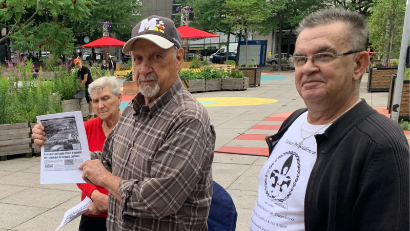 Duplessis Orphans Clarina Duguay (left) and Marc Boudreau (right) have been searching for a true apology and some justice,. and are being helped by country music singer Rod Vienneau. (Daniel J. Rowe/CTV News)