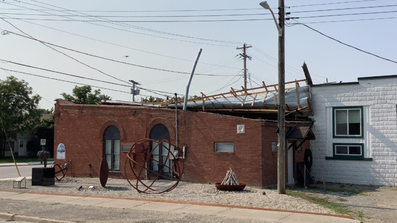 The roof of a business in Clarksburg was damaged during a downburst on Sun., July 25, 2021. (Courtesy: Northern Tornadoes Project)