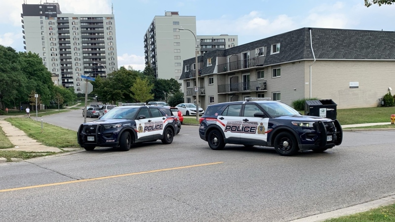 Waterloo regional police are on scene at Ingleside Drive in Kitchener for reports of shots fired. (Natalie van Rooy/CTV Kitchener)