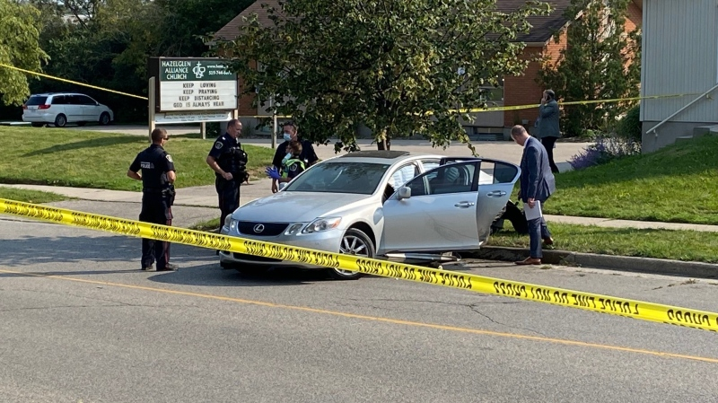 Waterloo regional police are on scene near Ingleside Drive in Kitchener for reports of shots fired. (CTV Kitchener)