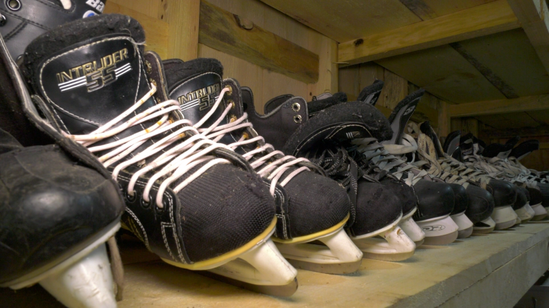 The Kids Christian Hockey League is shutting down in Brockville, with organizers giving away the equipment. (Nate Vandermeer/CTV News Ottawa)