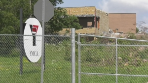 Demolition is underway at the former YMCA site on Grove Street in Barrie, Ont. on Wed., July 28, 2021. (Rob Cooper/CTV News)
