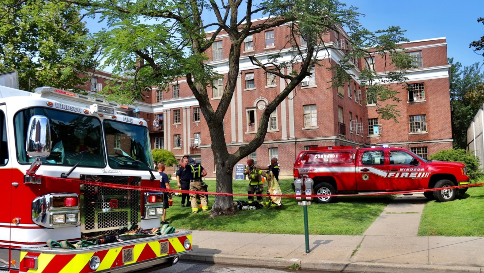 Windsor fire crews attended an apartment fire in the 1600 block of Ouellette Avenue in Windsor, Ont. on Wednesday, July 28, 2021. (courtesy OnLocation)